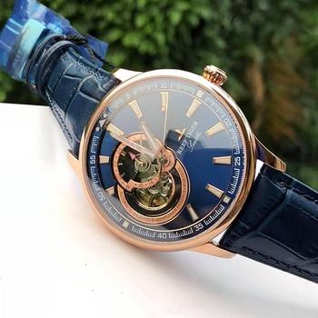 цена Reef Tiger/RT Dress Men Watch Blue Tourbillon Watches Top Brand Luxury Automatic Mechanical Watch Relogio Masculino RGA1639 онлайн в 2017 году