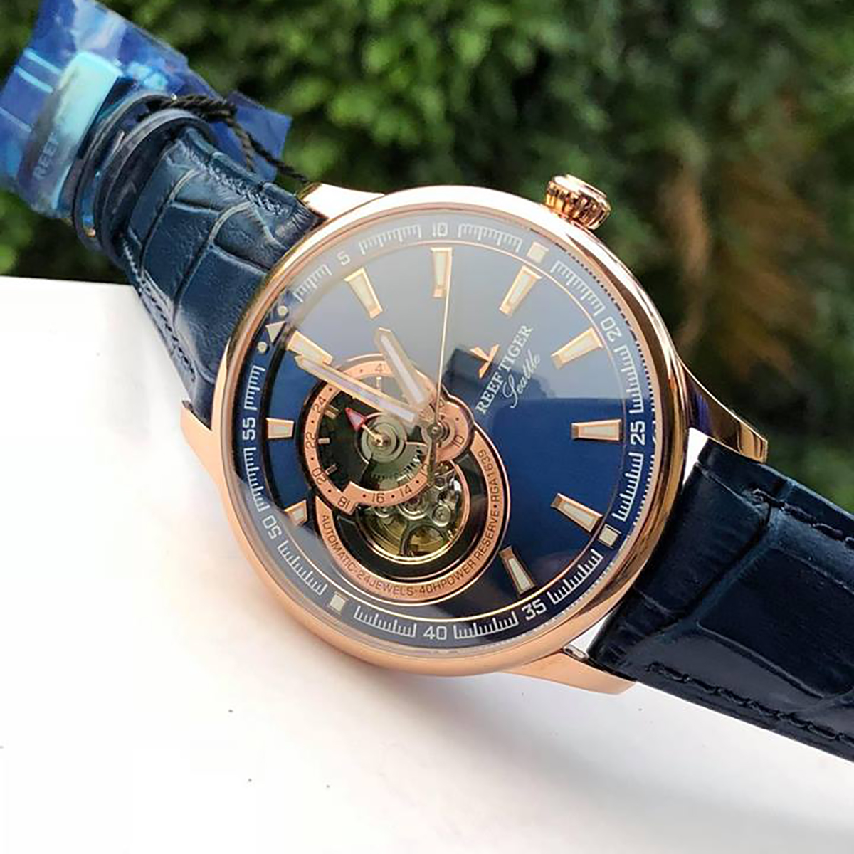 Reef Tiger/RT Dress Men Watch Blue Tourbillon Watches Top Brand Luxury Automatic Mechanical Watch Relogio Masculino RGA1639