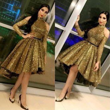 Elegant Halter Women Formal Gala Dress Plus Size Arabic Muslim Gold Long Sleeve Short Evening Prom Dresses Gown robe de soiree