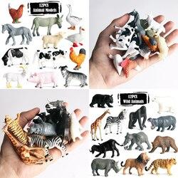 12 шт./компл., с рисунками животных, динозавр, Игровые мини-фигурки модели игрушки для детей Тигр Китовая акула познавательная развивающие иг...