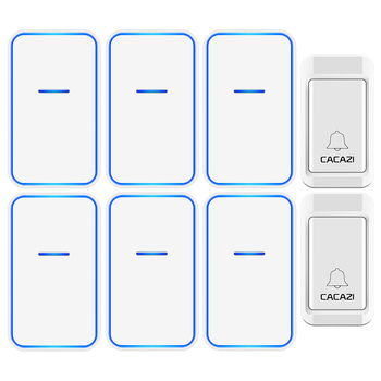 CACAZI No Battery Required Wireless Doorbell 2 Button 6 Receiver Self-powered Waterproof LED Night Light Home Cordless Call Bell