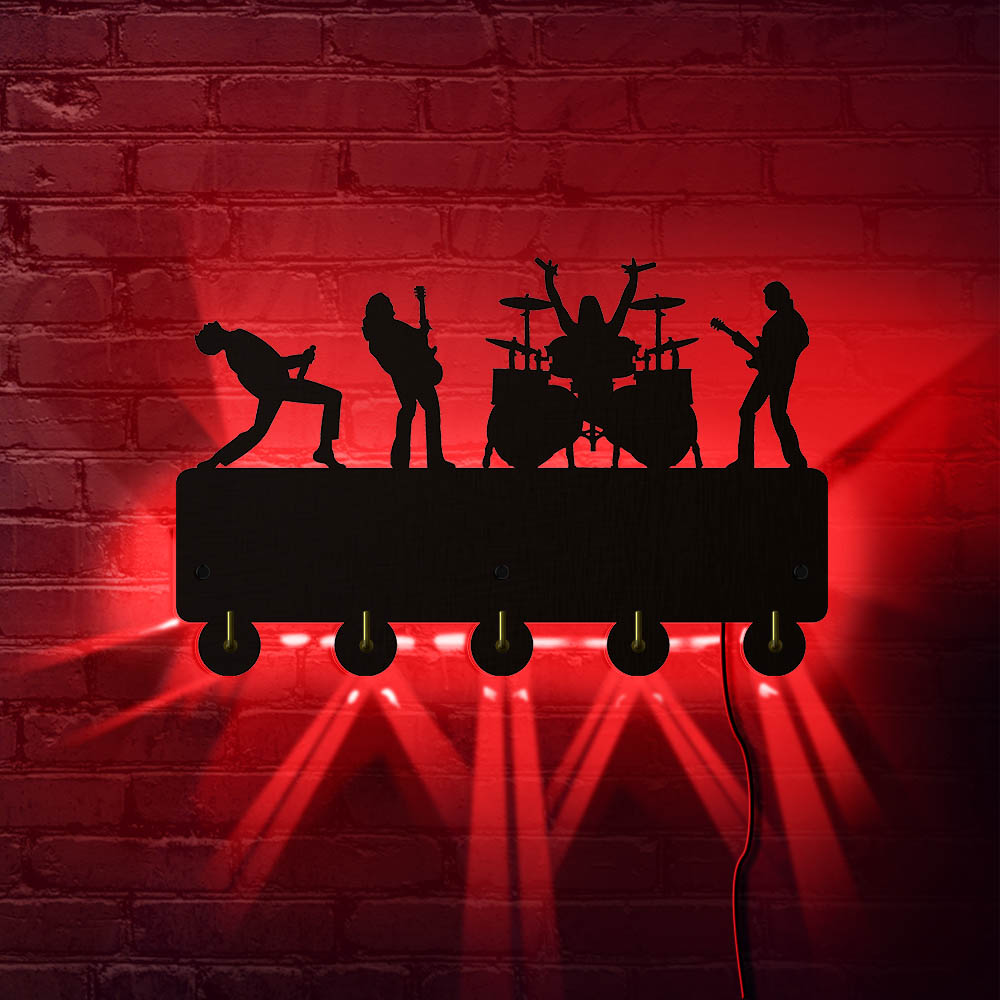 Rock Band Live Hanging Key Rack With 5 Hooks Music Band Luminous Keyring Holder Organizer For Entryway Rock Music Lover Gift