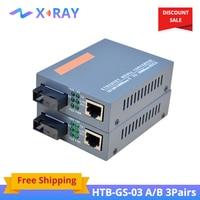 3 paires HTB-GS-03 A & B Gigabit Fiber optique convertisseur de médias 1000Mbps monomode fibre SC Port 20KM