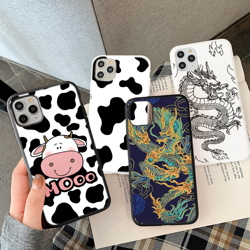 For iPhone 12 11 Pro 6 6S 7 8 Plus SE2 X XR XS Max SE 2020 CellPhone Case Dragon Cover White Black Cow Symbol Pattern Print Case
