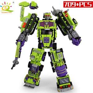 Image 3 - 709pcs 6in1 Transformation Robot Building Block City Engineering Excavator car truck constructor Bricks toy For Children