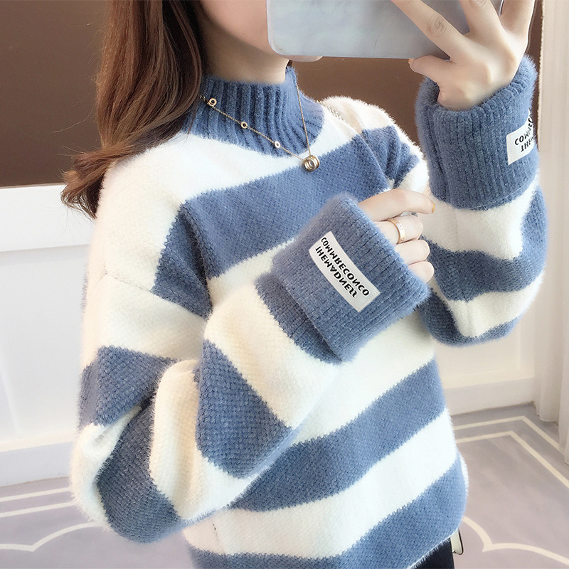 Striped Mink Sweater Women Autumn New Loose Winter Knitting Top 2019 Korean Slouchy Style Pullover Thickened Oversized Sweater