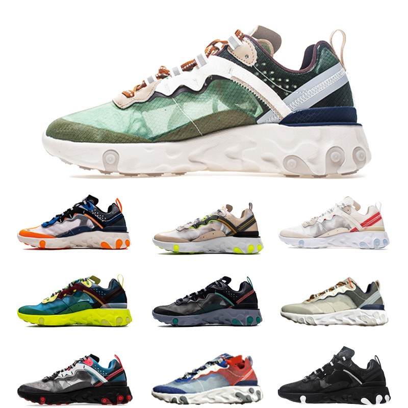 React Element 87 55 Running Shoes Men Women Chaussures Camo RED ORBIT Moss Royal Tint Dusty Peach Mens Trainers Sports Sneakers