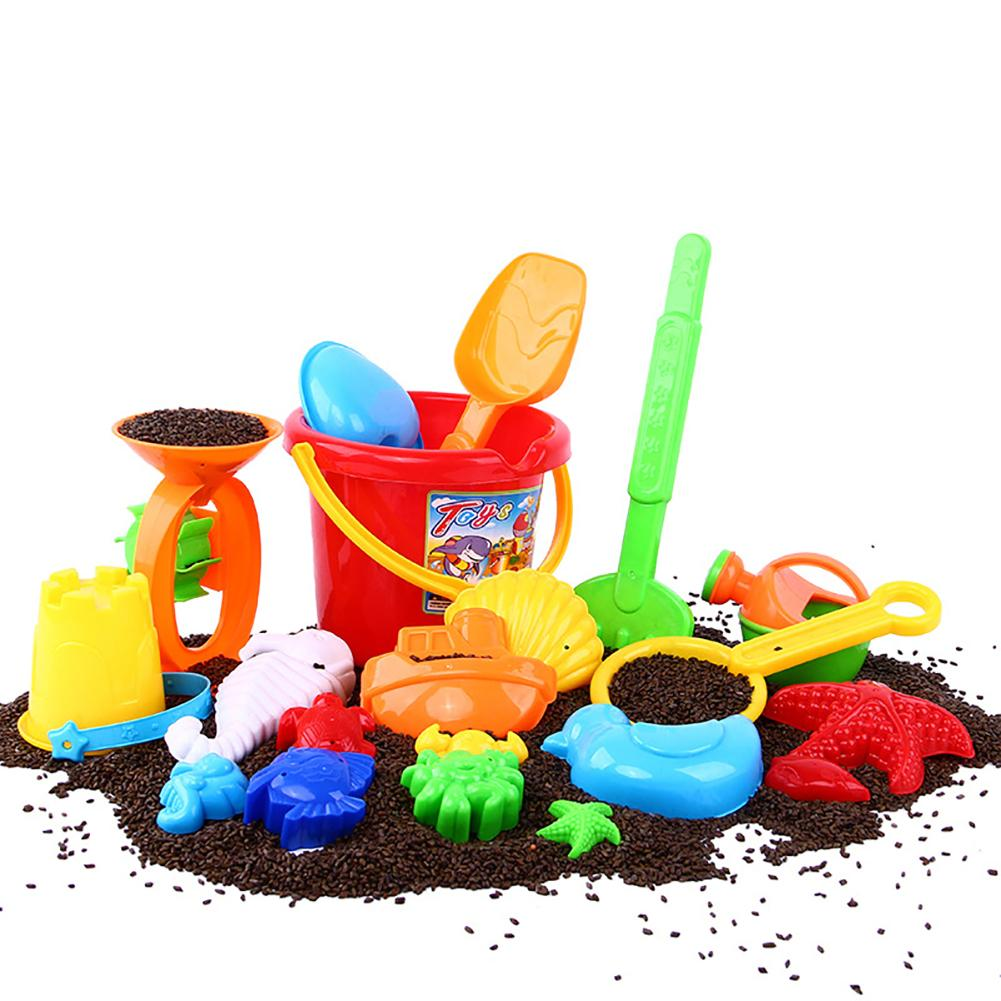 Kids Sand Beach Toys Castle Building Bucket Spade Shovel Fish Model Tool Set Castle Building Tool