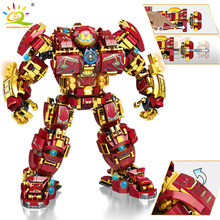 HUIQIBAO-superarmadura de guerra de ciudad, Robot de bloques de construcción, Guerrero militar, Mecha, figuras, armas, piezas, juguetes para niños, 1450 Uds.
