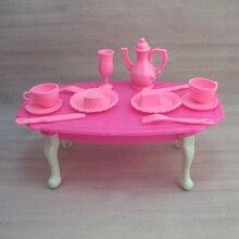 12 unids/set de mesa de cena rosa para niñas juego de simulación juguete de cocina para muñeca Barbie chica Regalo de Cumpleaños accesorios regalo juguete de regalo
