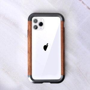 Image 1 - Cho iPhone 11 Pro Max X XR XS MAX Kim Loại Vân Gỗ 2 Trong 1 Lai Khung Viền Bảo Vệ siêu Mỏng Kim Loại Gỗ Ốp Lưng Ốp Lưng