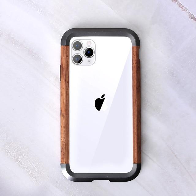 Cho iPhone 11 Pro Max X XR XS MAX Kim Loại Vân Gỗ 2 Trong 1 Lai Khung Viền Bảo Vệ siêu Mỏng Kim Loại Gỗ Ốp Lưng Ốp Lưng