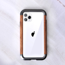 For iPhone 11 Pro Max X XR XS MAX Metal Wood Case 2 in 1 Hybrid Frame Edge Protective Cover Ultra Thin Metal Wooden Bumper Case