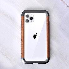 עבור iPhone 11 פרו מקסימום X XR XS מקס מתכת עץ מקרה 2 ב 1 היברידי מסגרת קצה מגן כיסוי אולטרה דק מתכת עץ פגוש מקרה