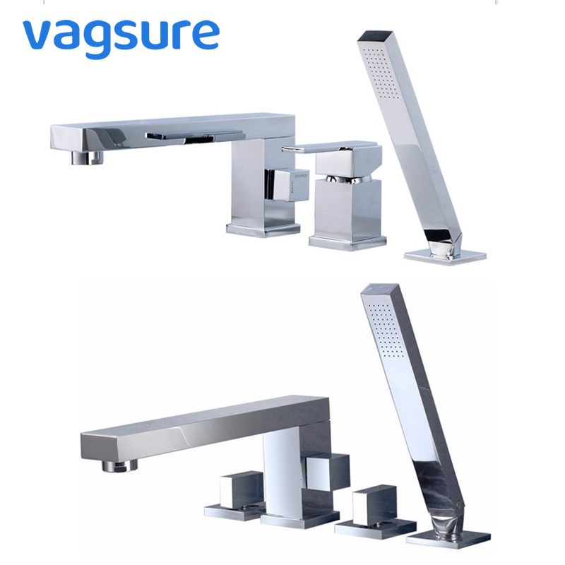 Single/Dual Handle Chormed Waterfall Bathtub Faucet for Massage Tub Deck Mounted Brass Mixer Tap With Hand Shower Bathroom