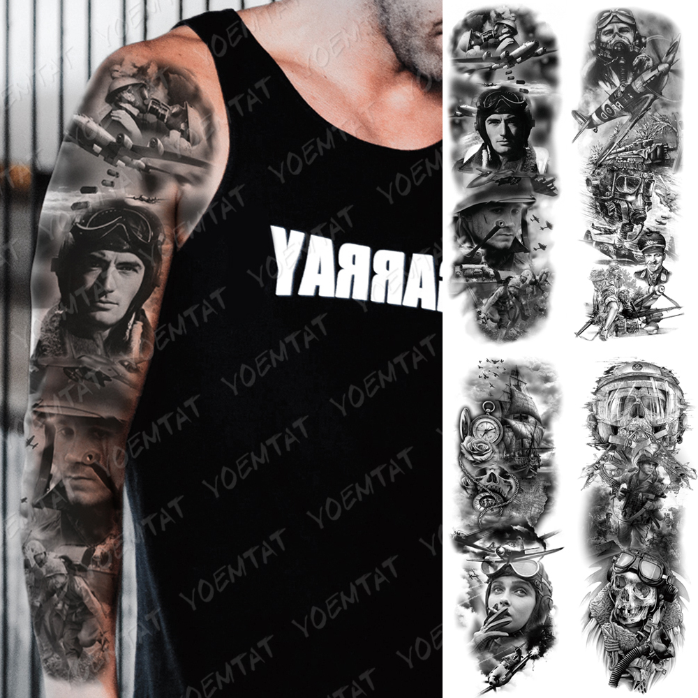Large Arm Sleeve Tattoo Airplane Soldier Pilot Waterproof Temporary Tatto Sticker Sailing Compass Body Art Full Fake Tatoo Men
