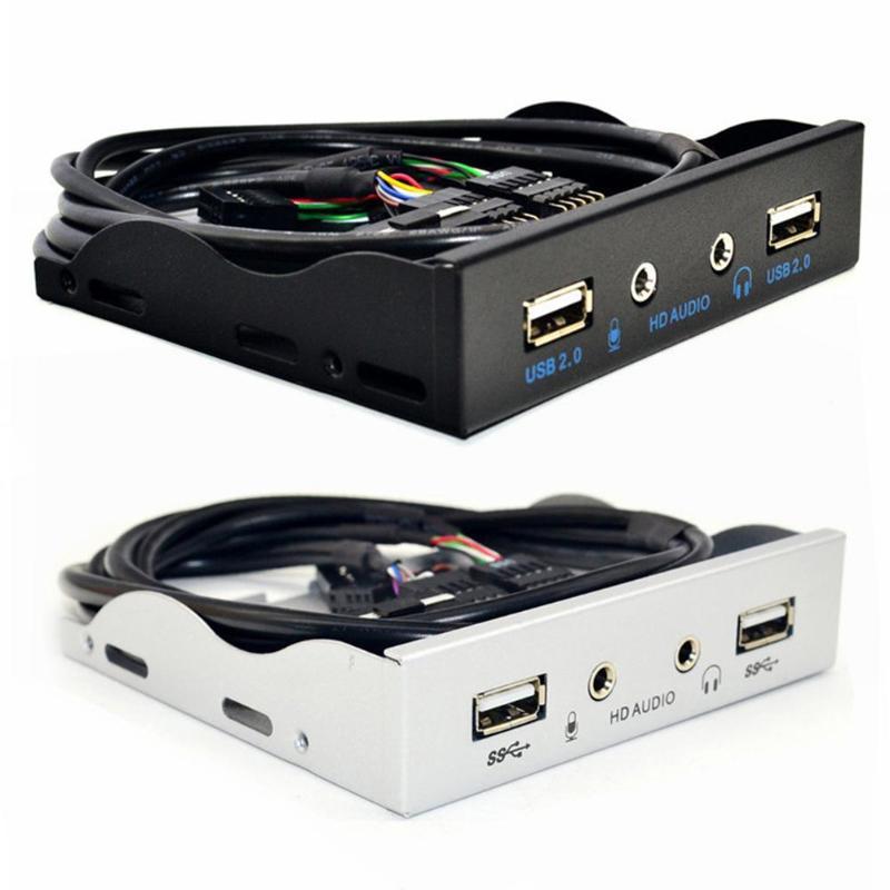 3.5 polegadas 9pin a 2 usb 2.0 hub de porta divisor baía disquete hd áudio 3.5mm fone de ouvido jack expansão painel frontal rack para computador pc