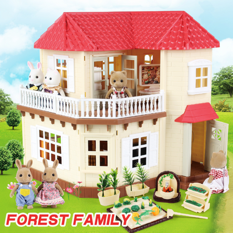 1:12 Forest House Children's Home Villa ABS Kitchen House Toy Forest Animal Family Simulation Food Mini Girl Home Toy House Gift
