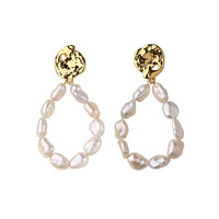 2019 Sale Oorbellen Earing Baroque Natural Pearl Earrings Female Ins Irregular Freshwater Ring Metal Eardrop Gifts For Women