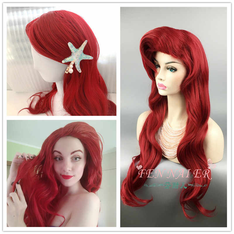 Halloween women Litter Mermaid cosplay Wig Pincess Ariel red wavy hair  Role Play red styled wig with starfish hairpin