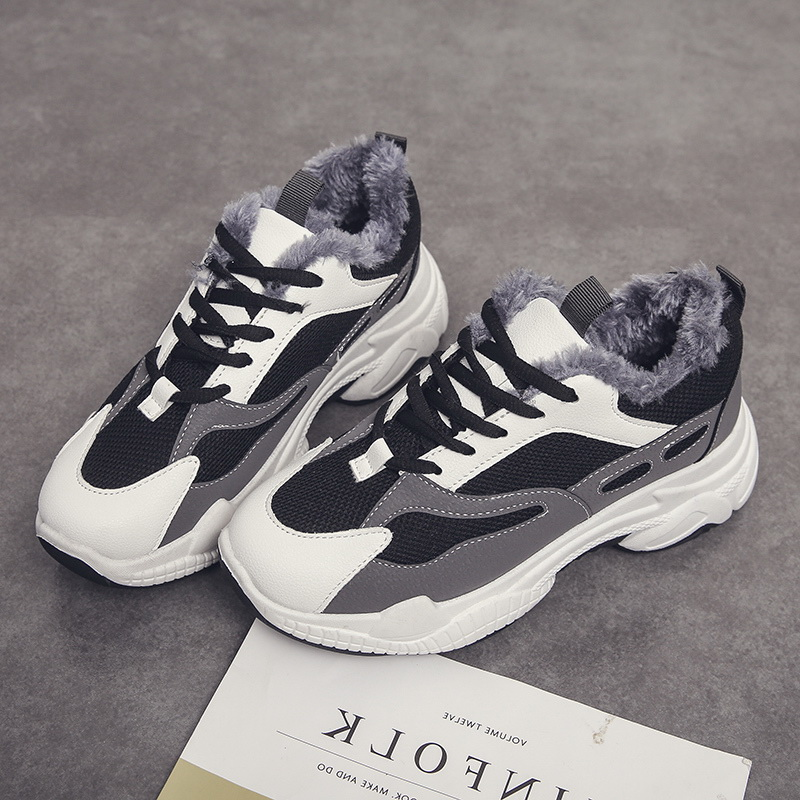 Chunky Dad Sneakers Women Light Non-Slip Running Shoes Gym Sport Shoes Woman Keep Warm Fur Winter Walking Footwear Thick Sole