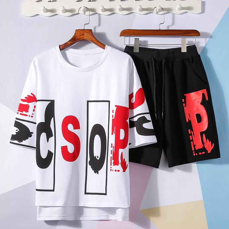 Short Sleeved Shorts Suit Men's Trend Loose Casual Summer Teenager Junior High School Students Thin Sports Clothing
