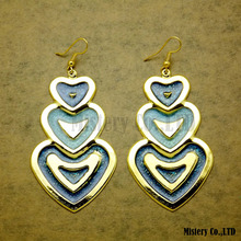 Vintage Lead Free Large Color Heart Dangle Enamel Earrings For Women Fashion Jewelry Girls New mythic age gold color ethnic chinese element cloisonne enamel leaves dangle earrings wholesale jewelry for women girls new
