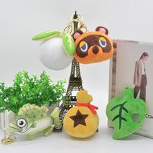 10cm Animal Crossing Mori Club Plush Green Color Leaves Fish Doll Key Chain Pendant