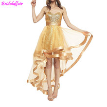 Gold Sequins Sweetheart High Low Prom dress Banquet Sexy 2019 Elegant Cocktail Dress Plus Size Homecoming vestido de gala