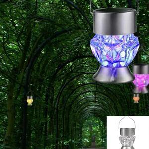 Image 5 - Solar Garden Lights, 1 Pcs Solar Lanterns Lights Rotatable Outdoor Garden Camping Hanging Light LED Diamond Lamp 7 colors Light