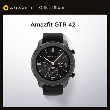 Em estoque versão global novo amazfit gtr 42mm relógio inteligente 5atm relógios femininos 12 dias bateria controle de música para android ios 1