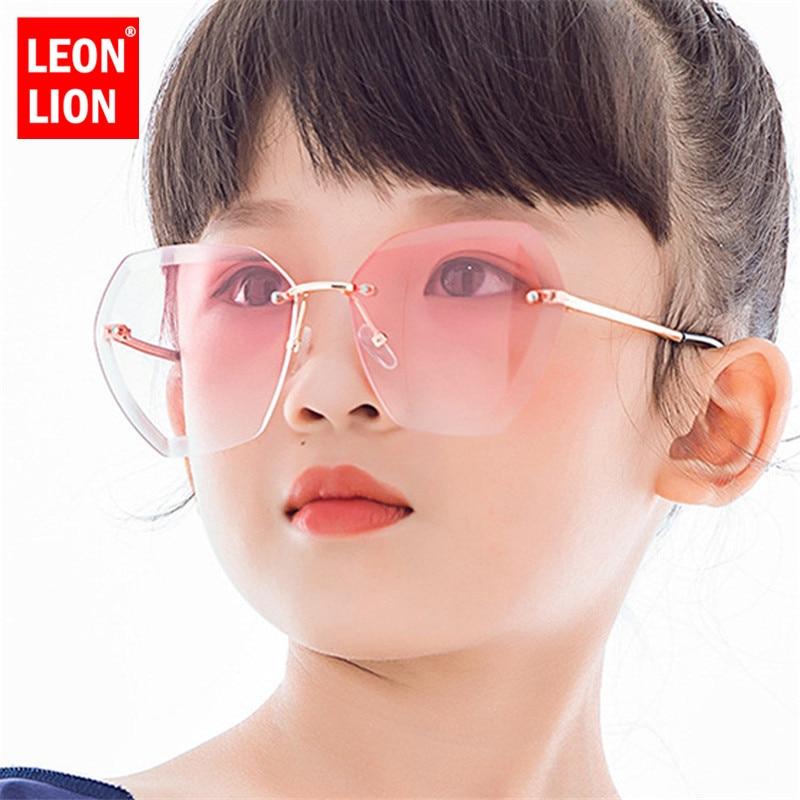 LeonLion Rimless Retro Sunglasses Children Luxury Glasses For Boy/Girl Vintage Sunglasses Children Small Oculos De Sol Feminino