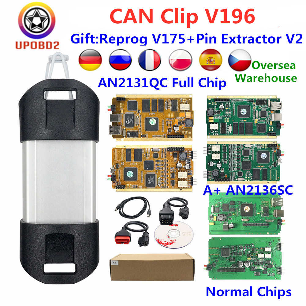 Kan Clip V196 Diagnostic Interface Gold Volledige Pcb AN2131QC AN2136SC Volledige Chip Kan Clip Obdii Auto Reparatie Tool Diagnostische Scanner
