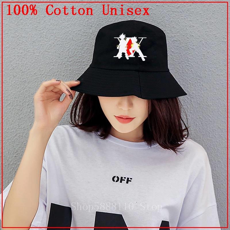 Outdoor Bucket Hat Beach Sun Hat Cotton Anime Printed Fisherman Packable Hat White Jyuesi Hunterr X Hunterr Unisex Fishermens Cap