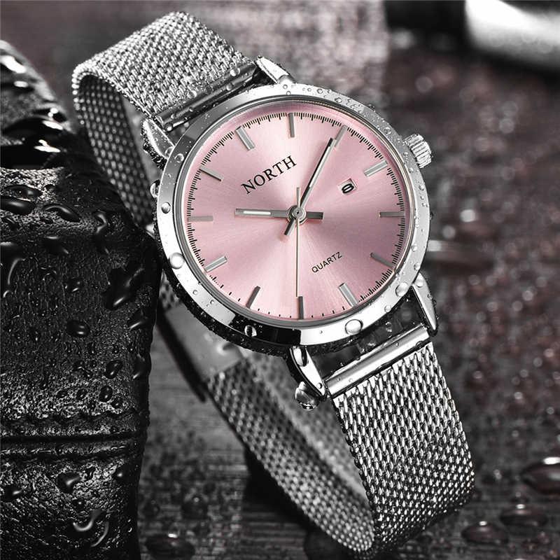 2020 NORTH ผู้หญิงนาฬิกาแบรนด์หรู Quartz นาฬิกาผู้หญิงสแตนเลสแฟชั่นชุด Lady ธุรกิจนาฬิกา relogio feminino