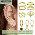 Bamoer 1PC Gold Ohr Manschette 925 sterling silber Gold Farben Kreis Ohrringe ohr clipr Hoop Ohrringe für kinder frauen hochzeit BSE285