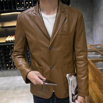 Top Fashion Mens Slim Fit Faux Jackets Spring Autumn Motorcycle PU Leather Coat High Quality Blazers Formal Jacket