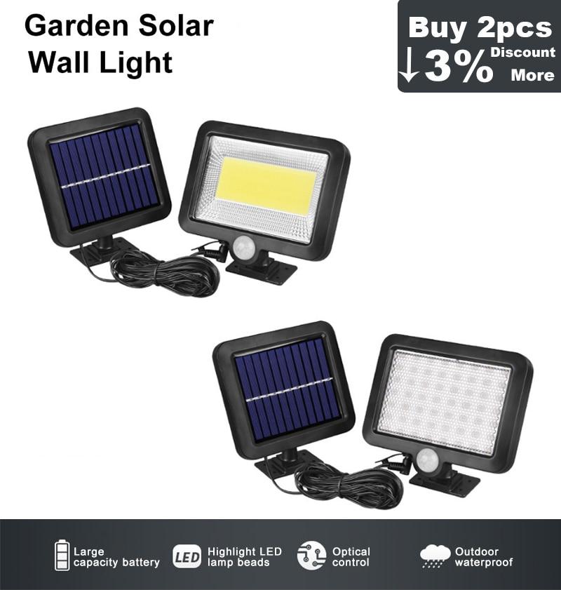 1//2//4Pcs Solar LED Lights Motion Sensor Wall Light Yard Blue Lighting Bead Lamps