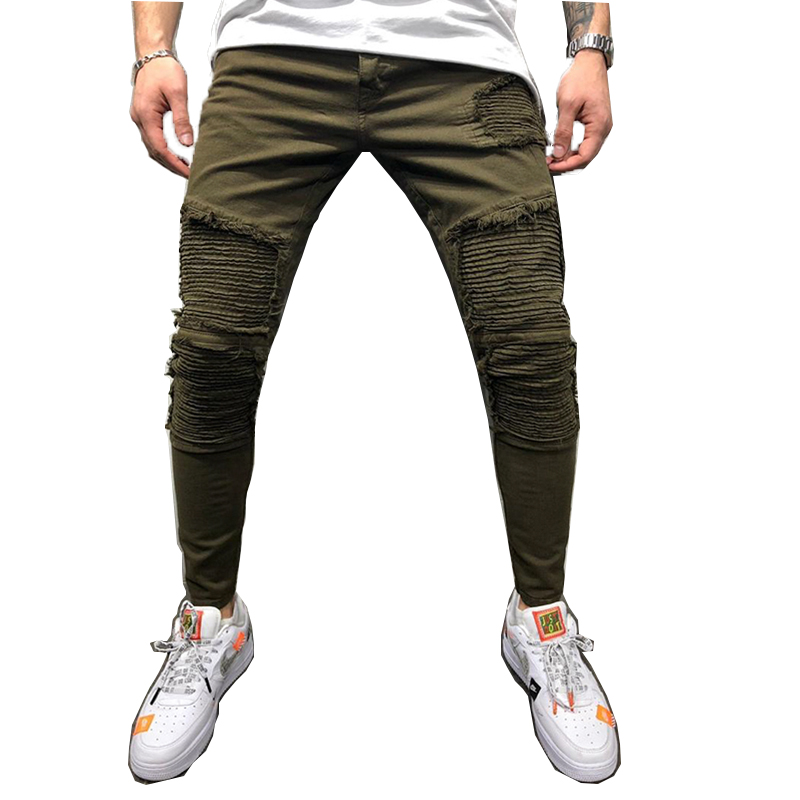 REPPUNK 2019 New Fashion Men Jeans Slim Biker Jeans Streetwear Hiphop Elastic Skinny For Male Simple Denim Joggers Trousers