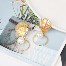 2020 Summer Gold Color Shell Big Drop Earrings for Women Simulated Pearl Hollow Metal Dangle Earrings Beach Holiday Jewelry sea shell earrings for women gold color trendy metal shell cowrie statement dangle earrings 2020 new summer beach jewelry