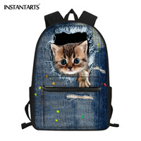 INSTANTARTS Brand 3D Animal Jeans Cat Schoolbag Women Daily Shopping Backpack Daily Laptop Rucksack for Male/Female Outdoor Bags