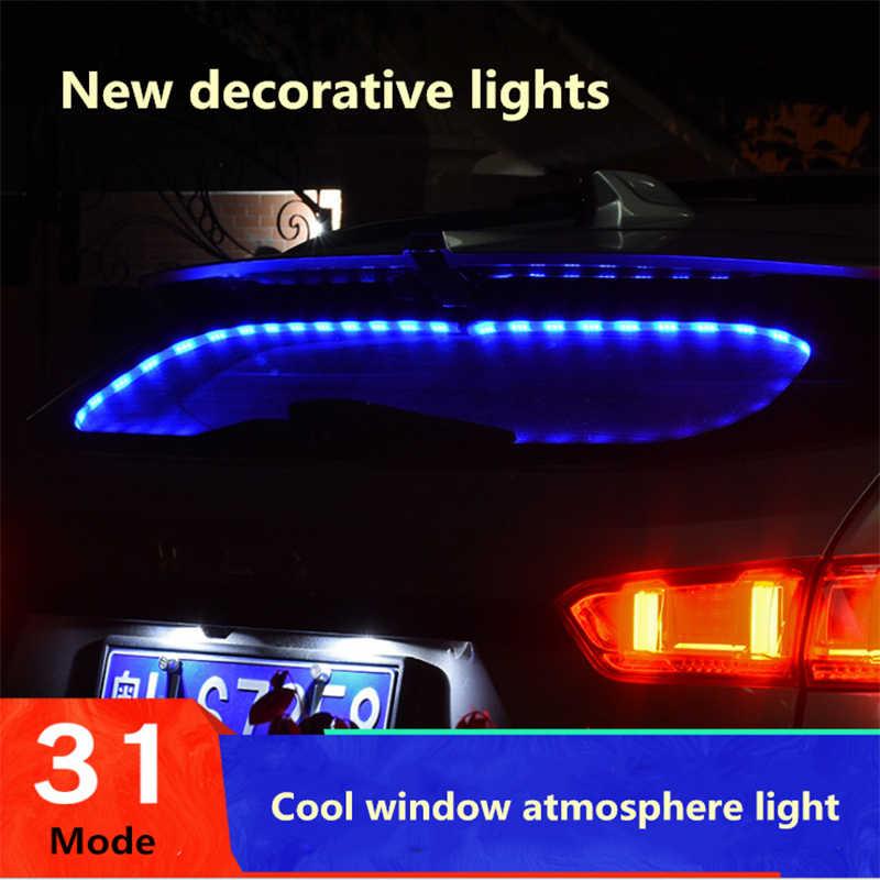 7 colores luz ambiental Interior del coche ventana trasera Flash atmósfera luz encendedor RGB Control de voz Auto Lámpara decorativa