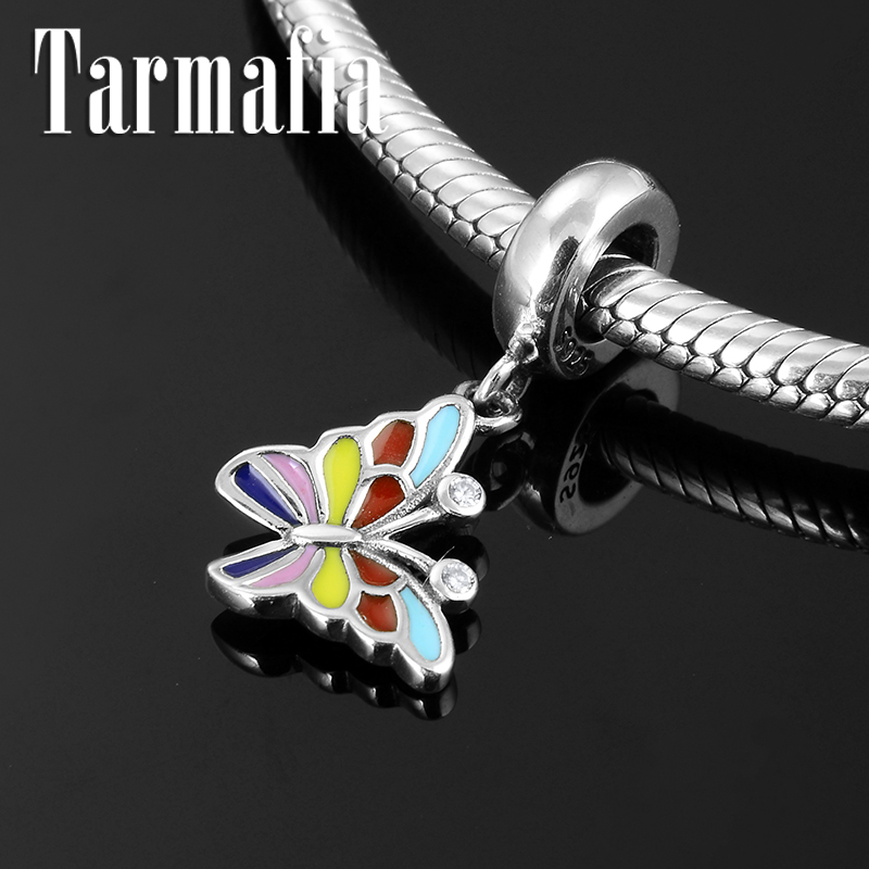 100% 925 Sterling Silver Super Nice Colorful Enamel Butterfly Pendnat Charm Beads Fit Original Pandora Bracelet Jewelry Making