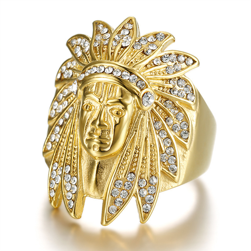 Linmouge Fashion Gold Color Ring Indian Chief Man Hip Hop Personality Punk Rings Zircon Stainless Steel Luxury Trendy RF27