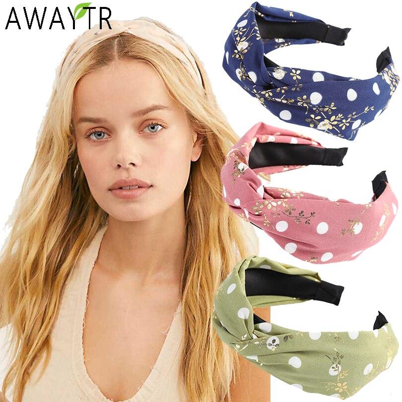 AWAYTR Women Flower Headband Cross Floral Prints Elastic Turban Knot Hair Hoop Band Wide Stretch Girls Hairband Hair Accessories