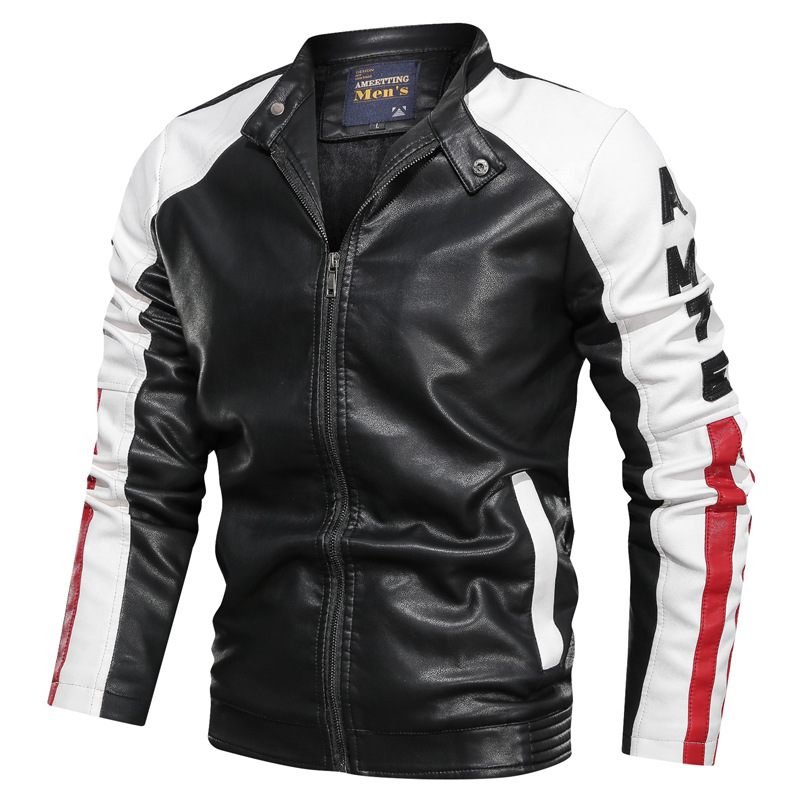 NEGIZBER 2019 Fashion Clothes Men's Leather Jacket Casual Patchwork Leather Jacket Stand Collar Zipper Leather Jacket Men