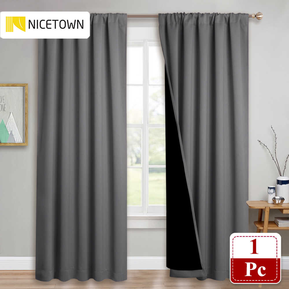 nicetown 1pc double layer full blackout curtains rod pocket draperies with black liner for living room windows curtains