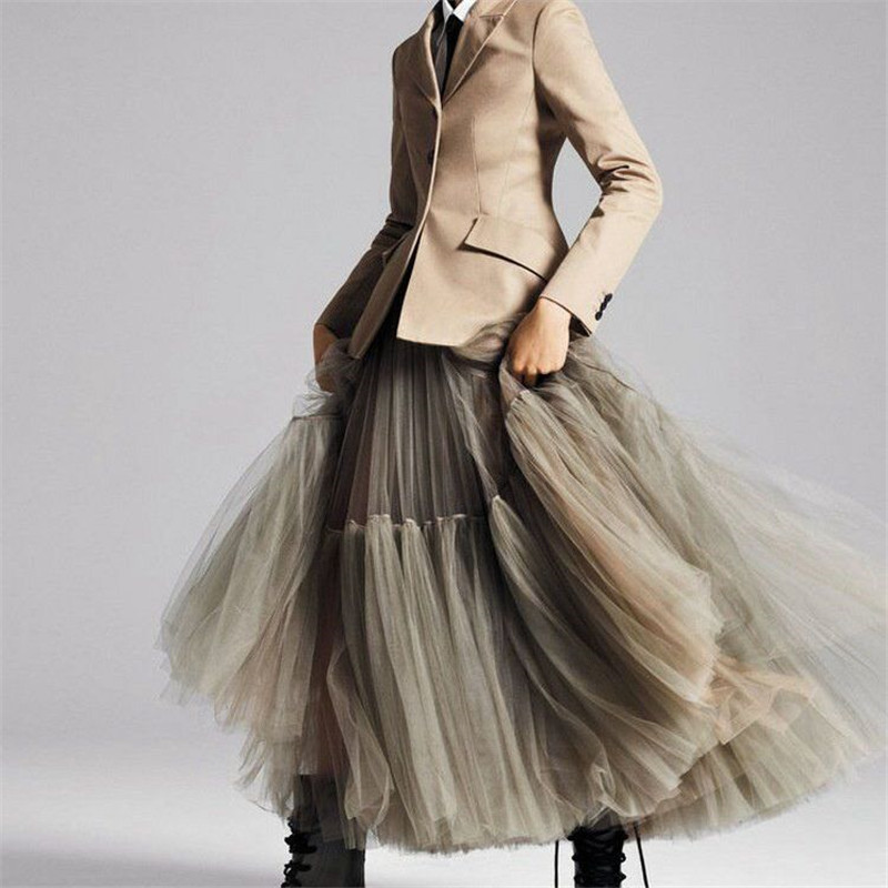 3 Colors 90 Cm Runway Luxury Soft Tulle Skirt Hand-made Maxi Long Pleated Skirts Womens Vintage Petticoat Voile Jupes Falda