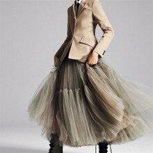 90 cm Runway Luxus Weichen Tüll Rock Hand made Maxi Lange Plissee Röcke Frauen Vintage Petticoat Voile Jupes Falda