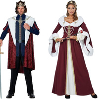 Royal Red Velvet Queen King Deluxe Cape Cloak Fancy Dress Costume 120cm Carnival Cosplay